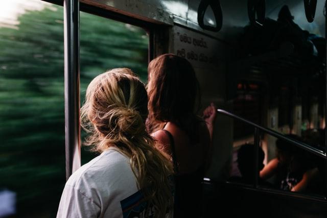 girls in train